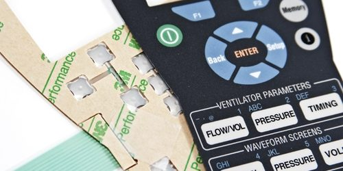 Membrane switches are constructed from various layers such as a circuit board and graphic overlay.